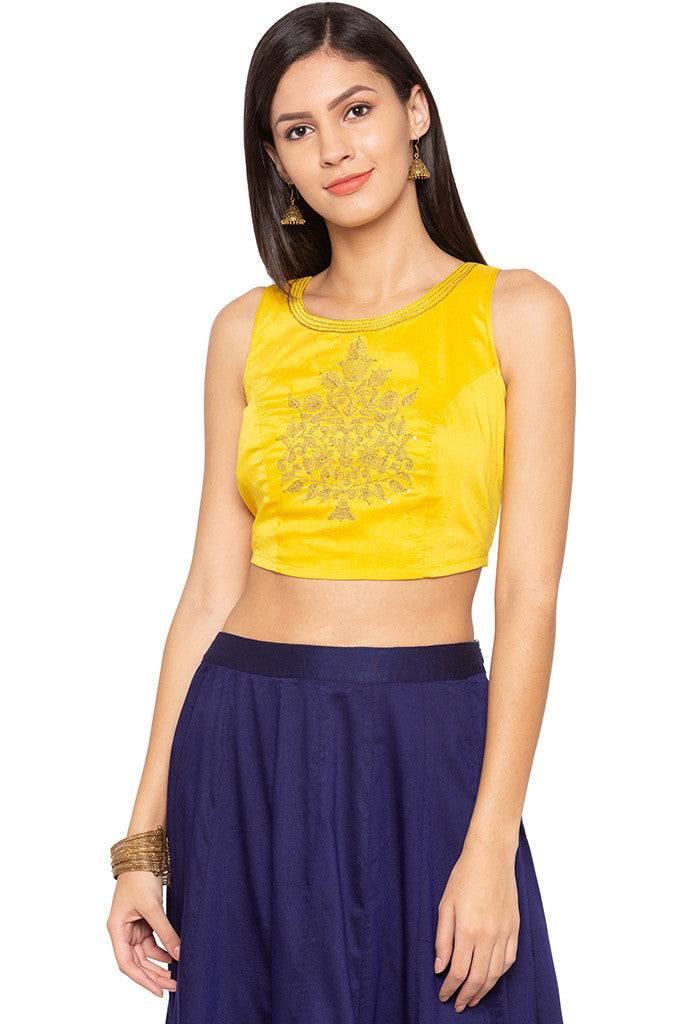 Embroidered Ethnic Crop Top-1