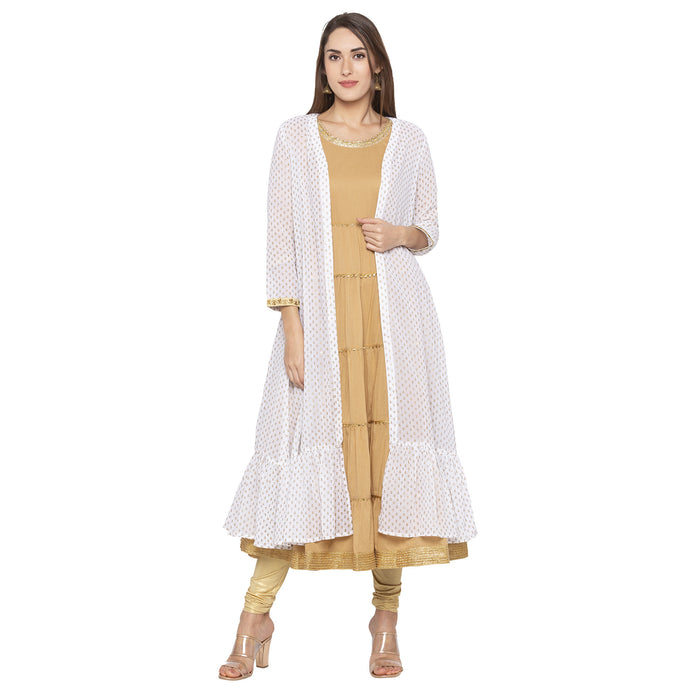 Ethnic Beige Color Solid Regular Fit Tunics-1