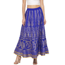 Load image into Gallery viewer, Blue Printed Flared Maxi Skirts-1