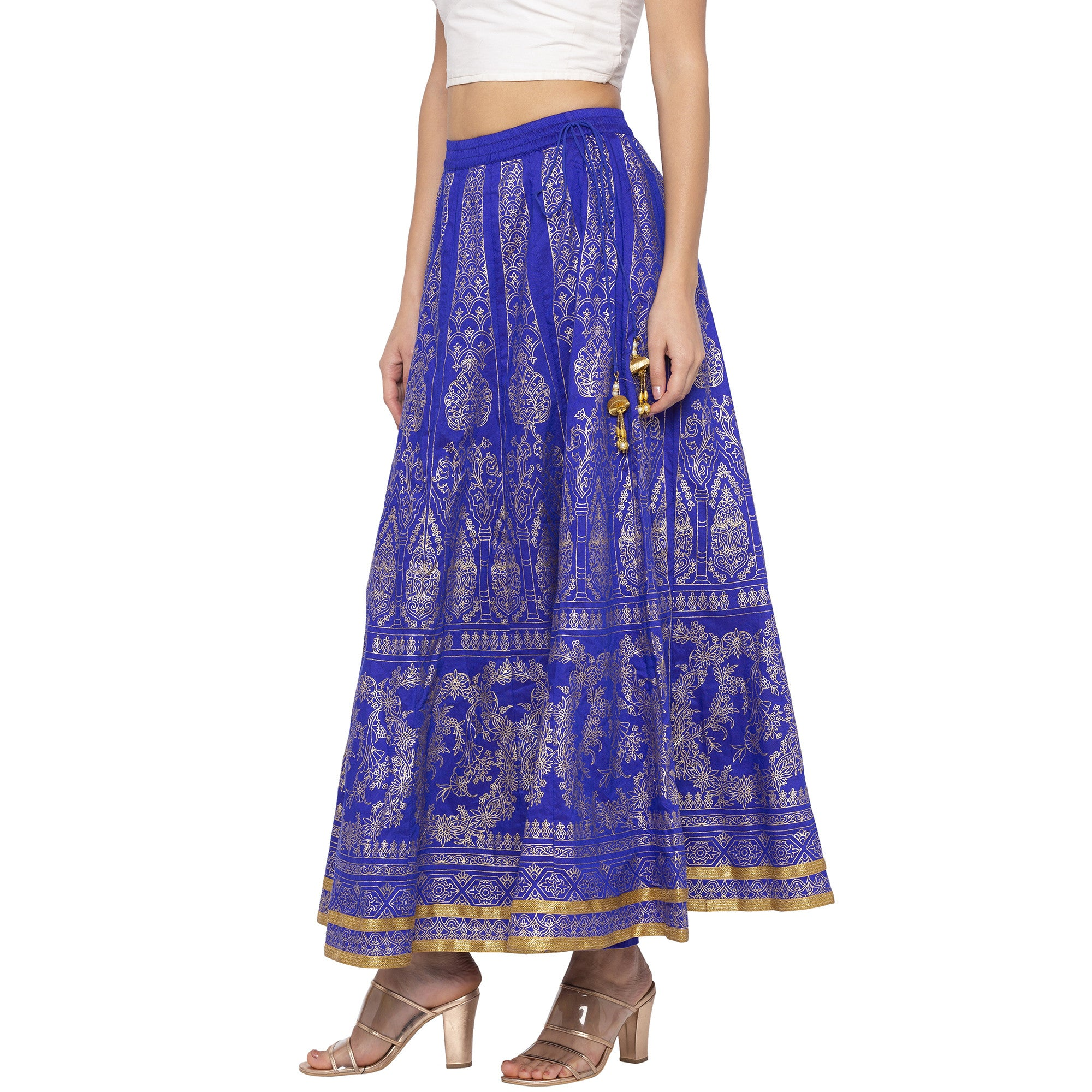 Blue Printed Flared Maxi Skirts-2