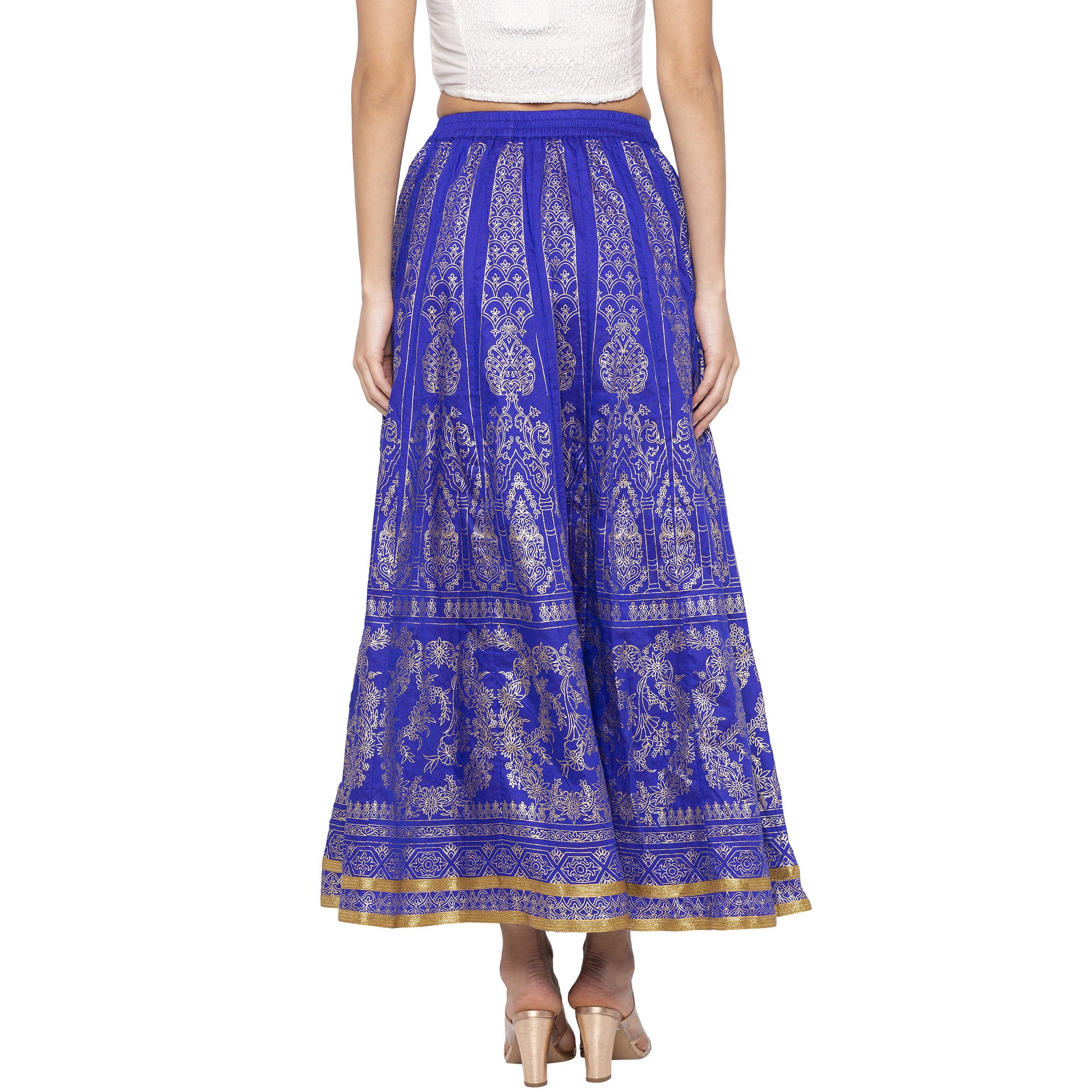 Blue Printed Flared Maxi Skirts-3