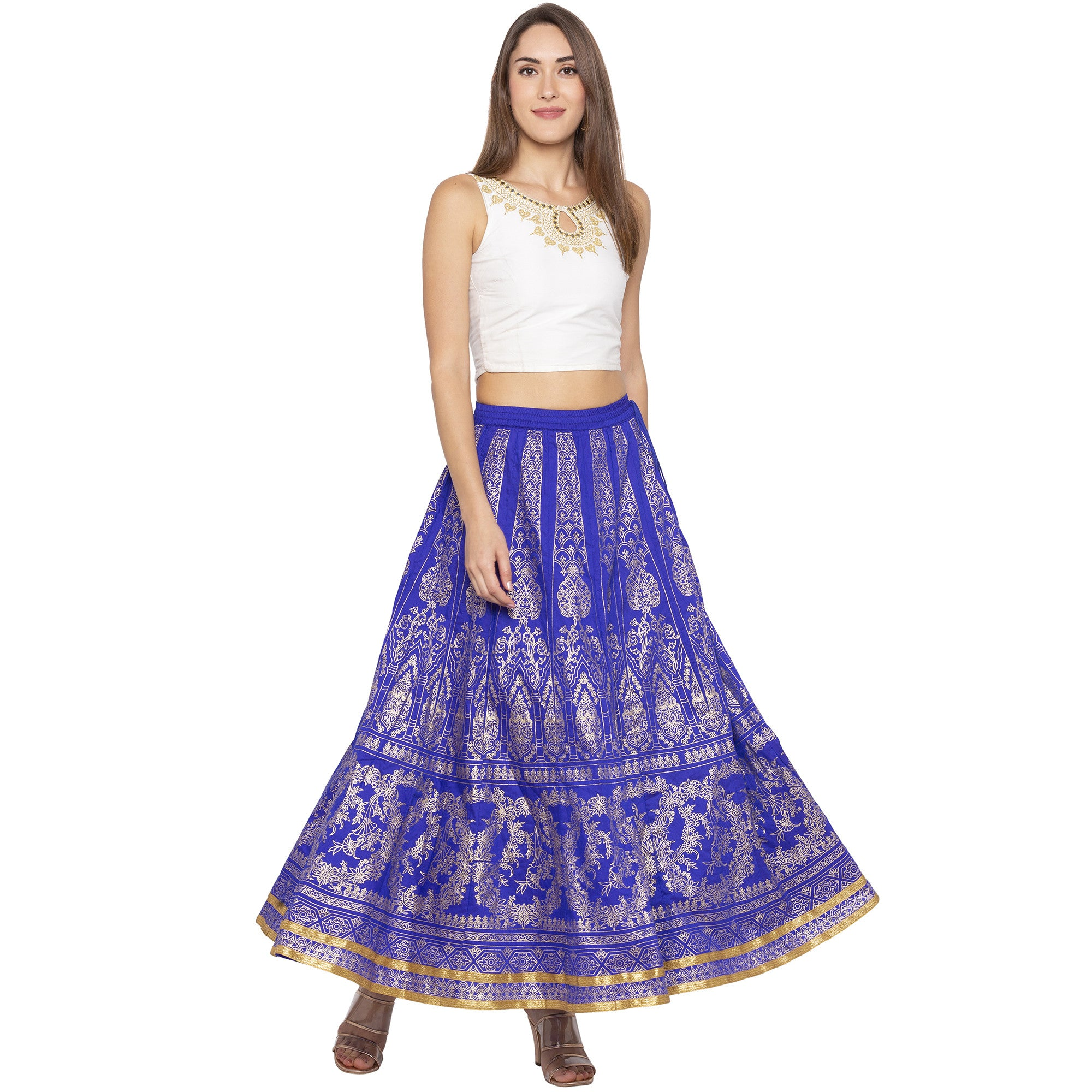 Blue Printed Flared Maxi Skirts-4