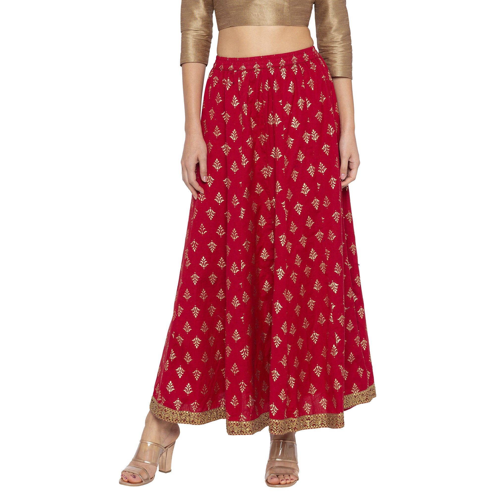 Maroon Printed Skirts-1