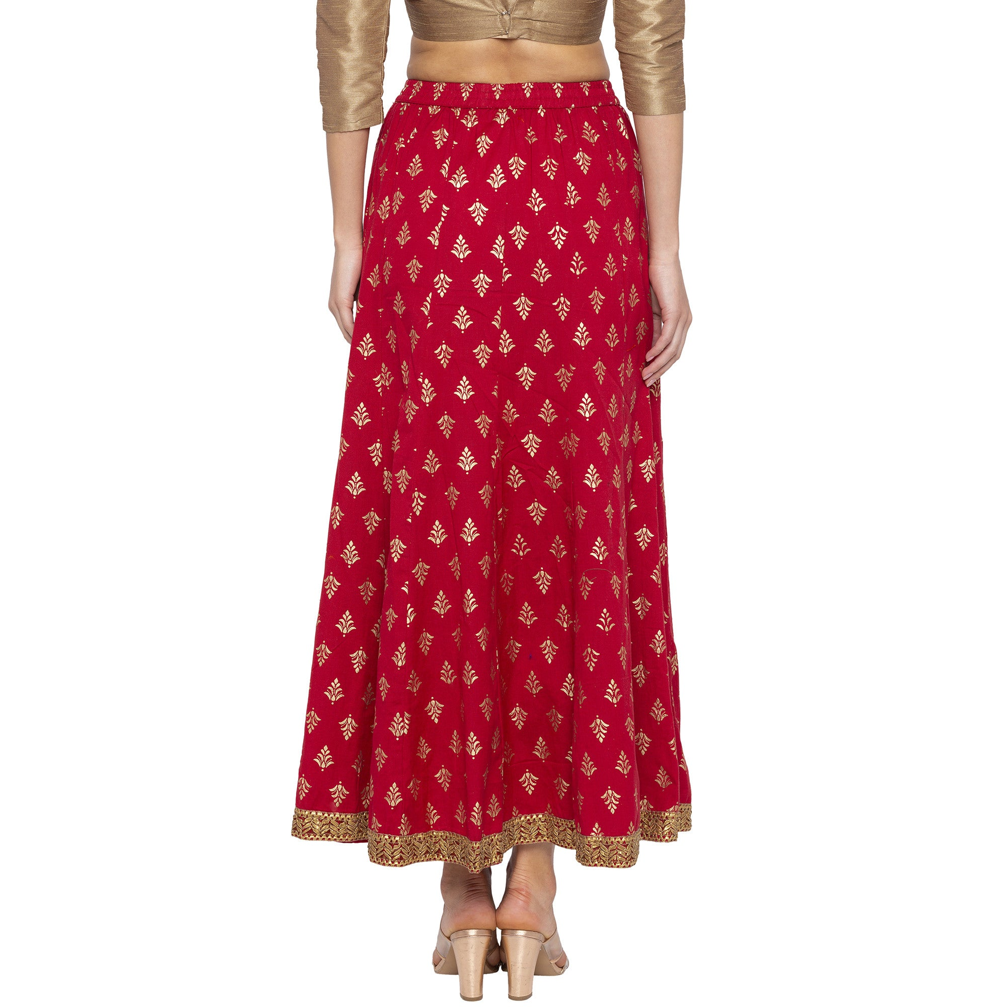 Maroon Printed Skirts-3