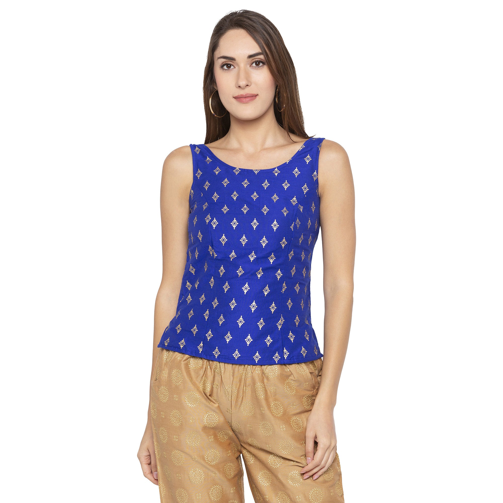 Ethnic Blue Color Printed Slim Fit Tunics-1