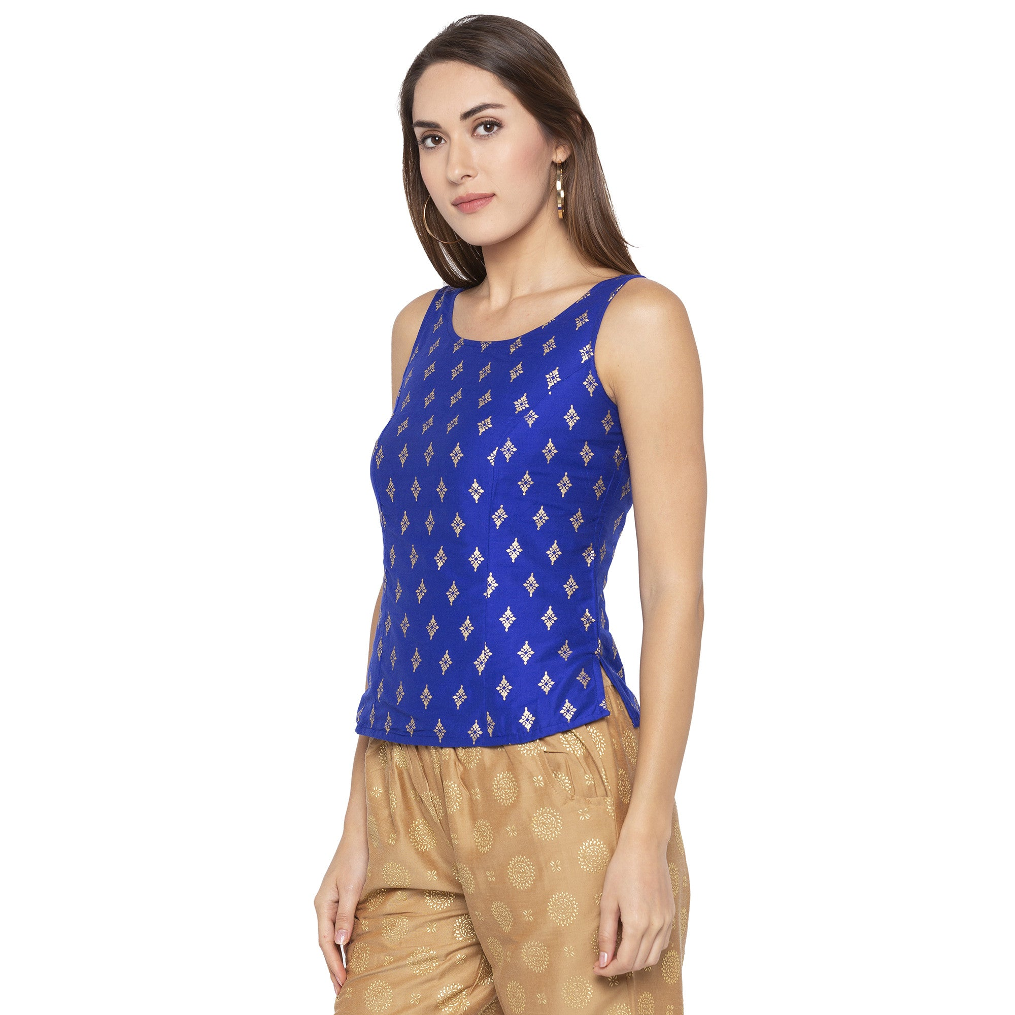 Ethnic Blue Color Printed Slim Fit Tunics-2