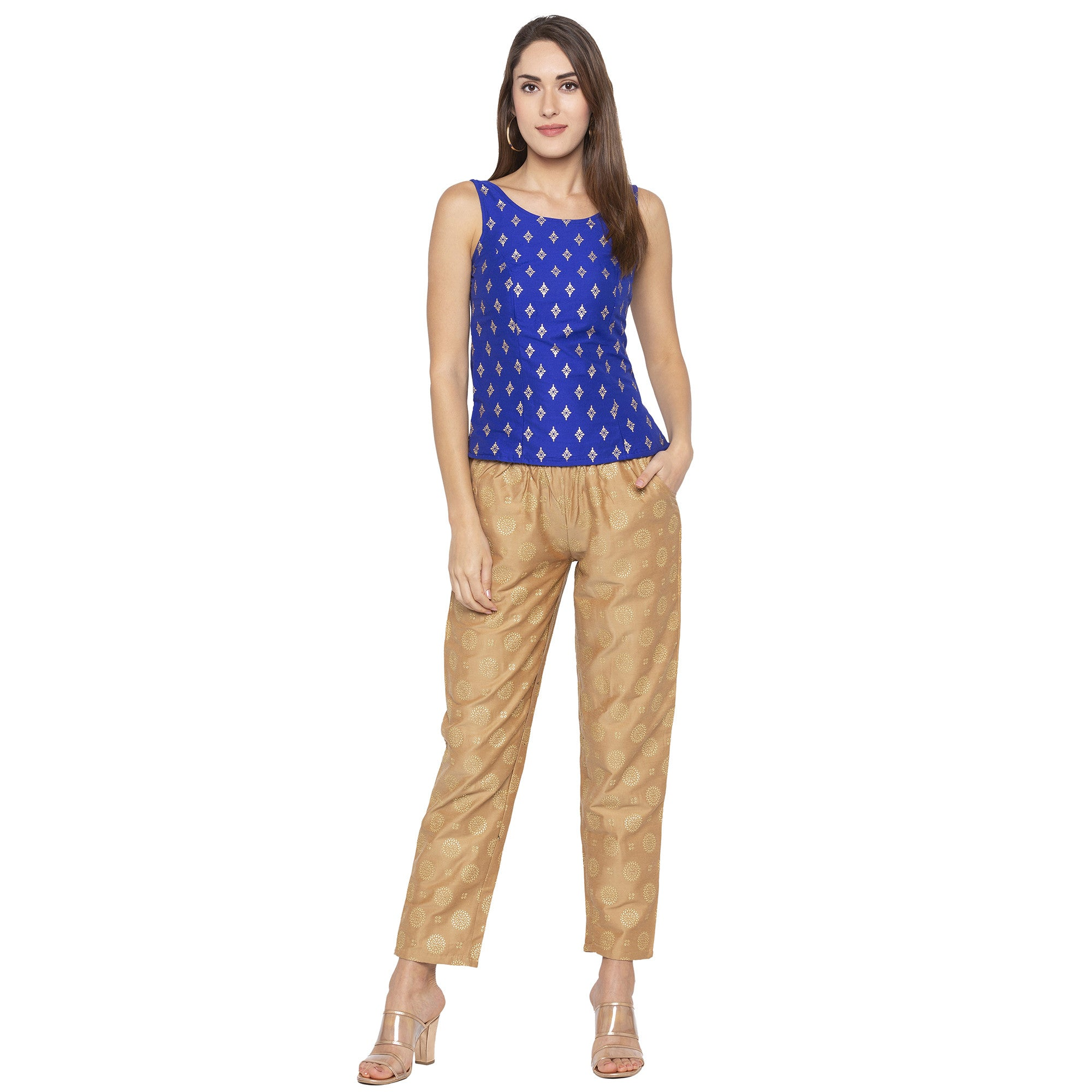 Ethnic Blue Color Printed Slim Fit Tunics-4