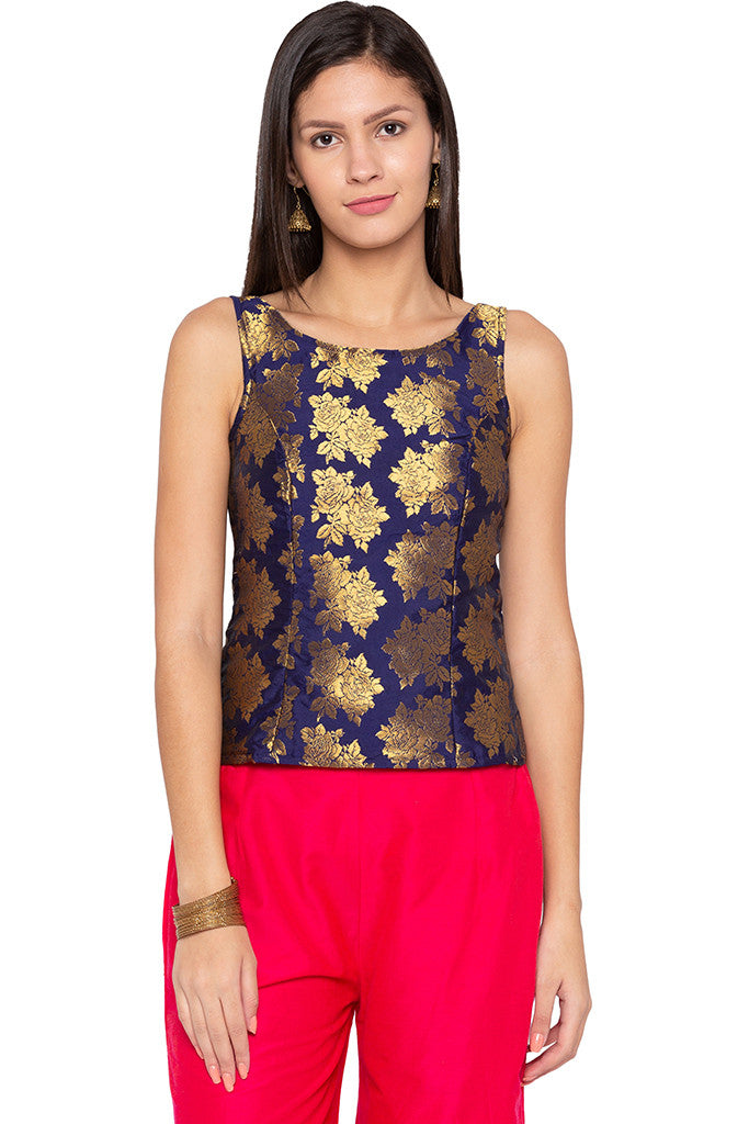 Brocade Royal Blue Ethnic Top-1