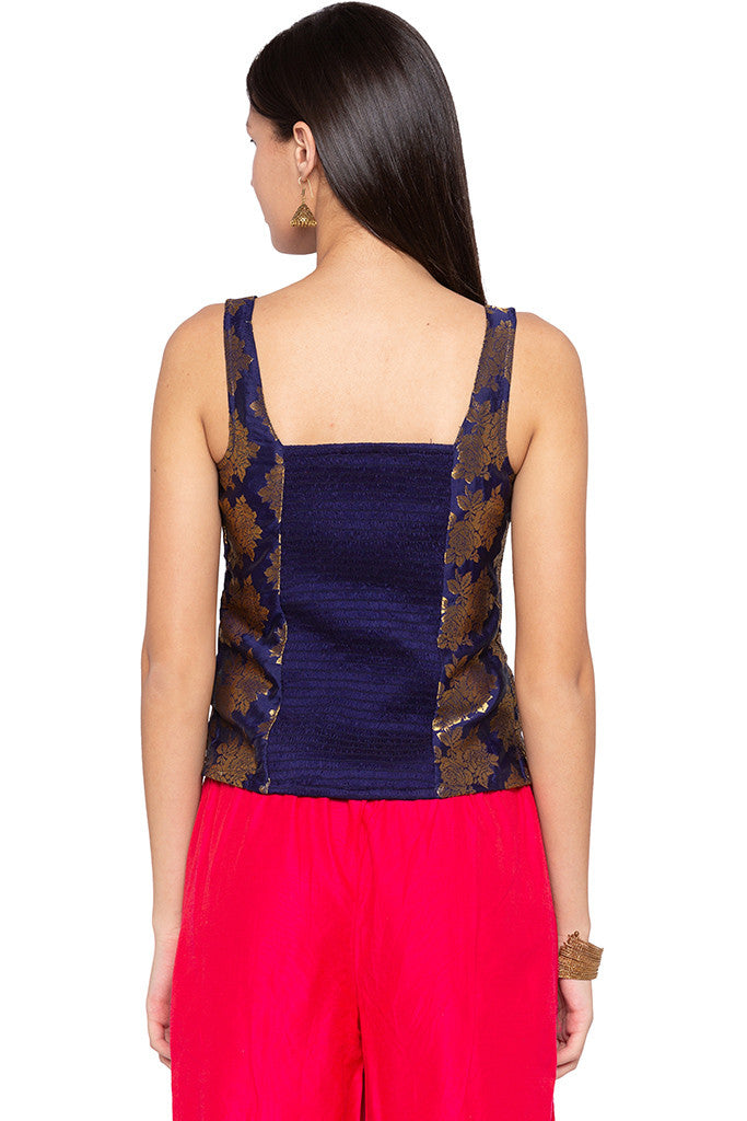 Brocade Royal Blue Ethnic Top-3