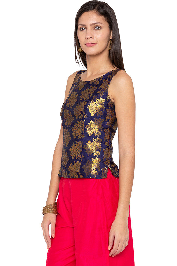Brocade Royal Blue Ethnic Top-4