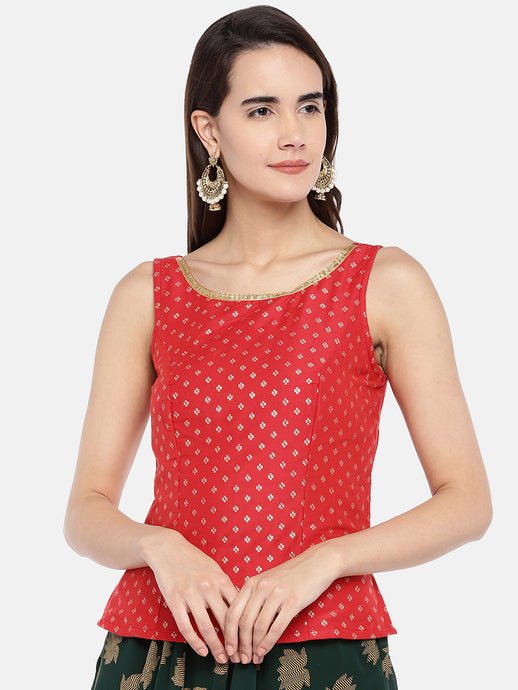 Red Printed Fitted Ethnic Tunic-1