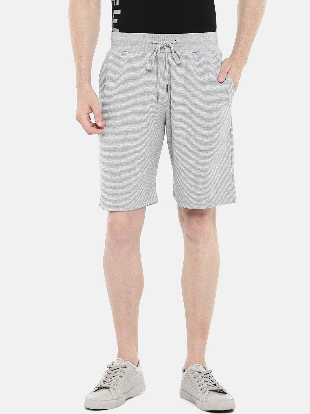 Grey Solid Regular Fit Regular Shorts-1