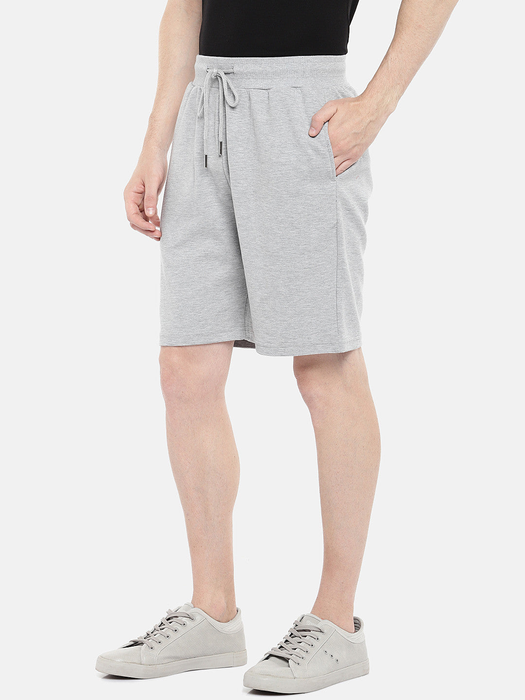 Grey Solid Regular Fit Regular Shorts-2