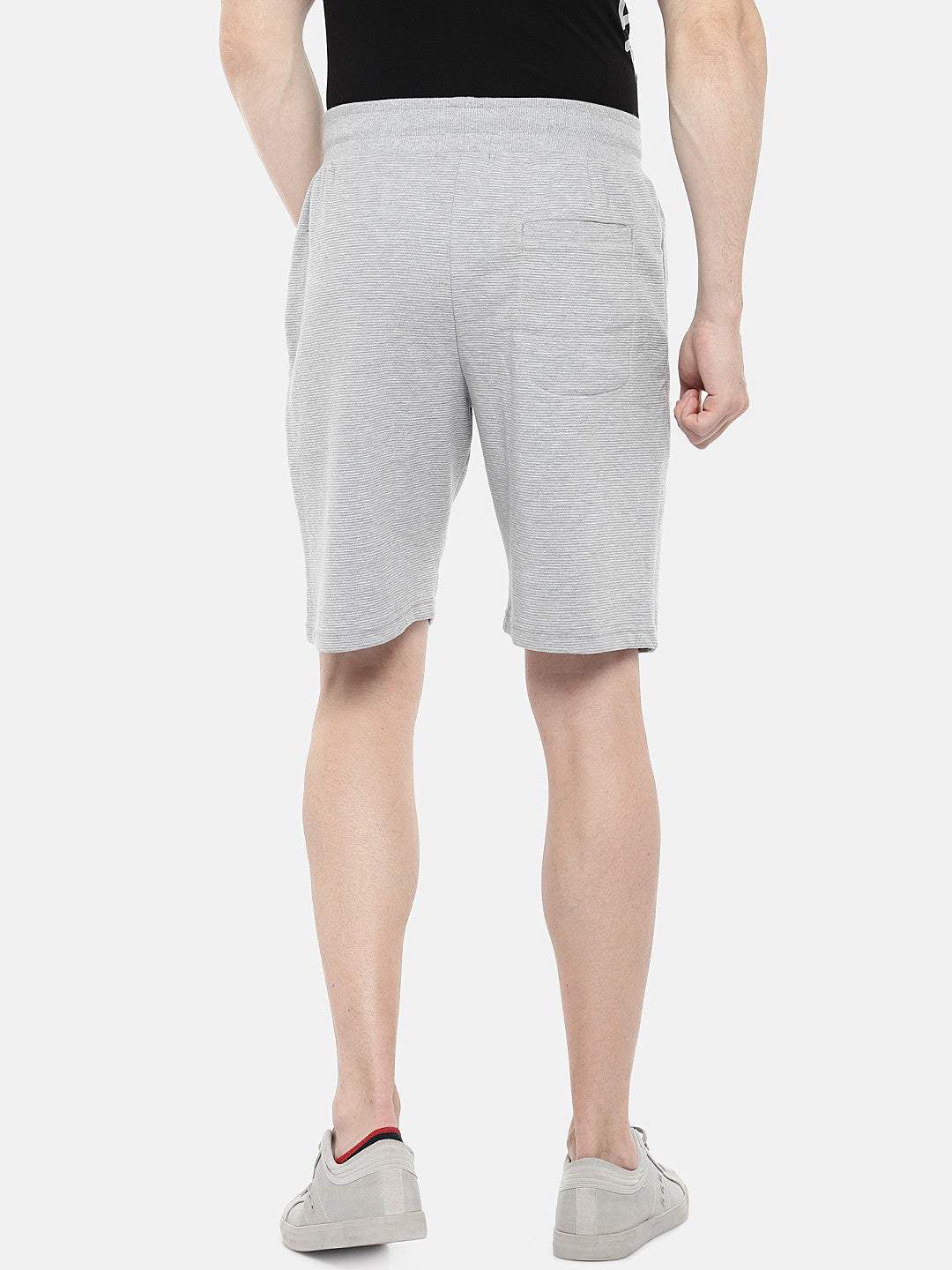 Grey Solid Regular Fit Regular Shorts-3