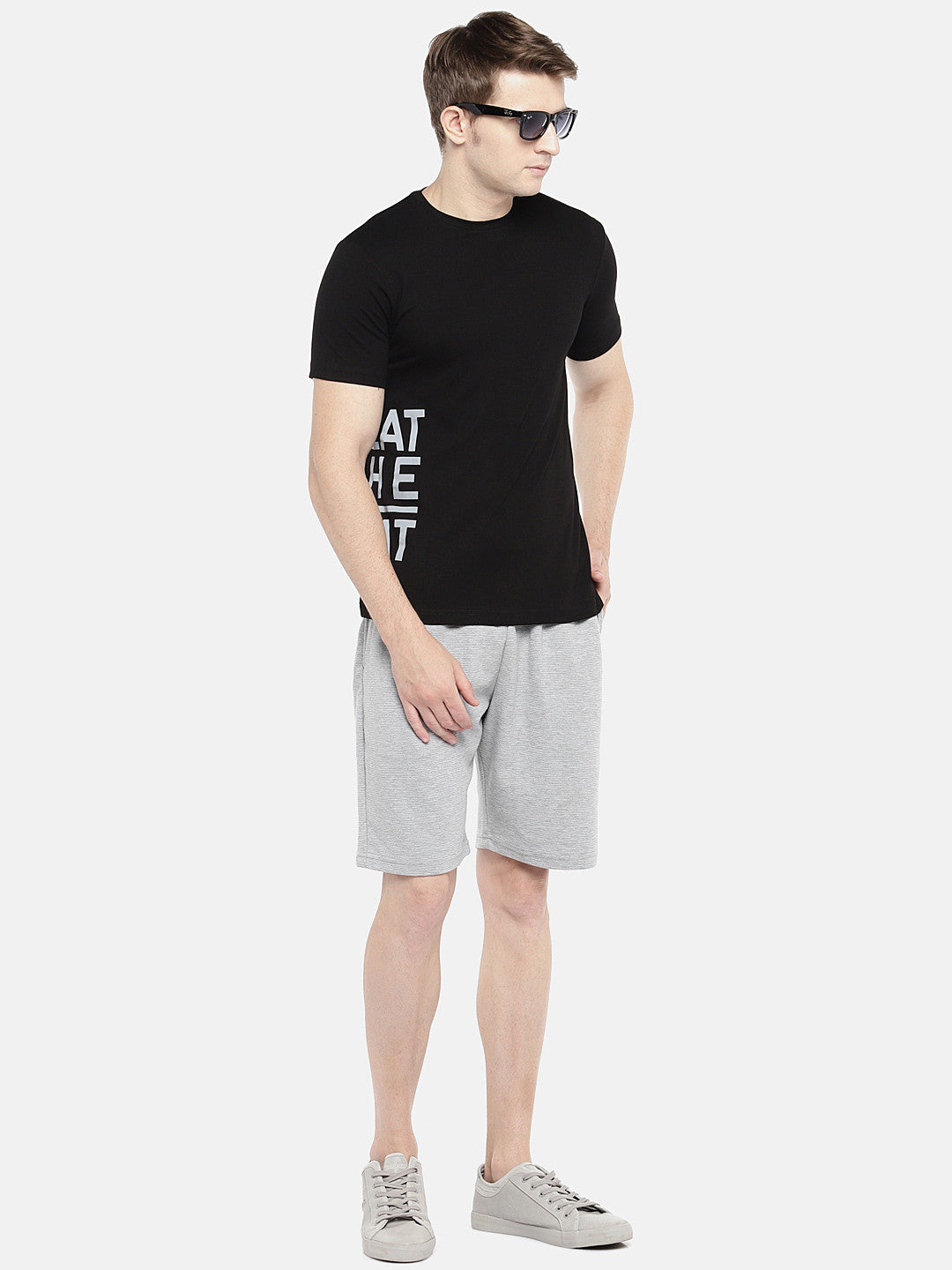 Grey Solid Regular Fit Regular Shorts-4