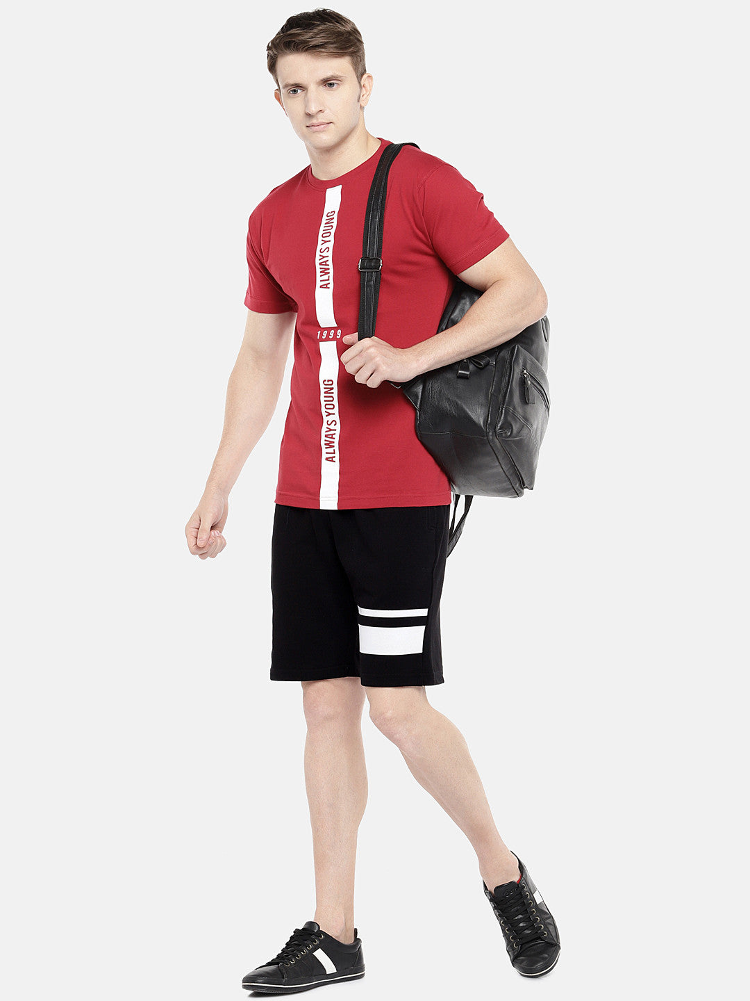 Black Solid Regular Fit Regular Shorts-4