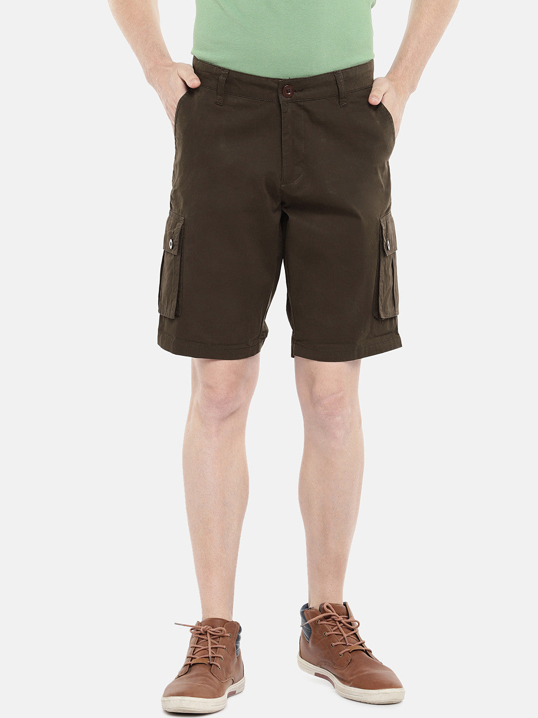 Olive Green Solid Regular Fit Regular Shorts-1