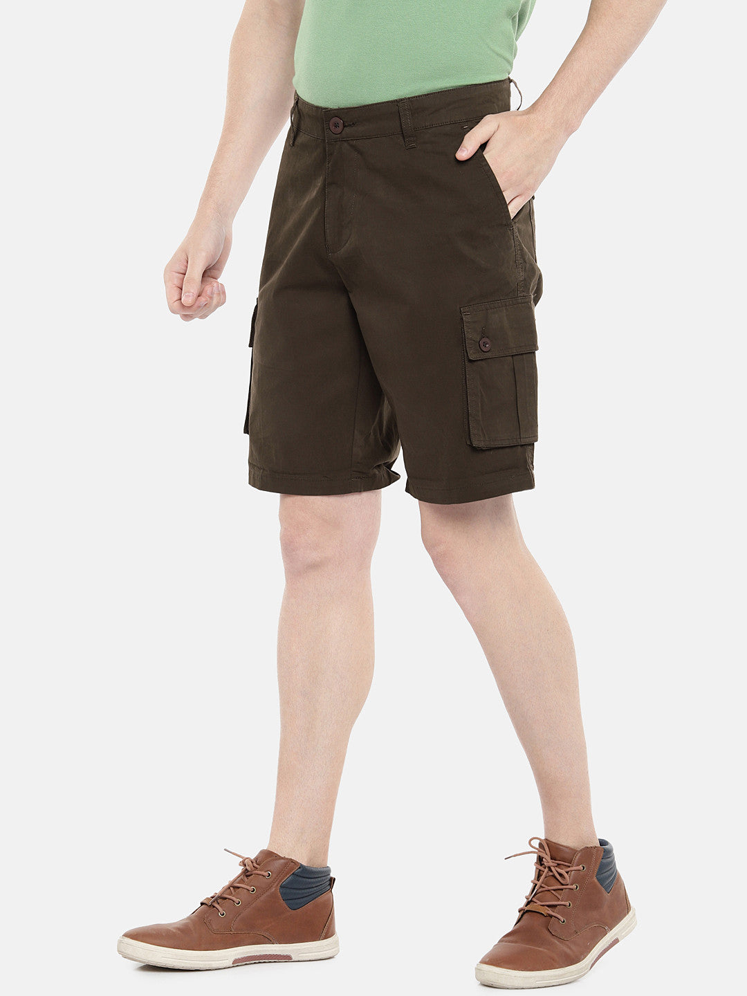 Olive Green Solid Regular Fit Regular Shorts-2