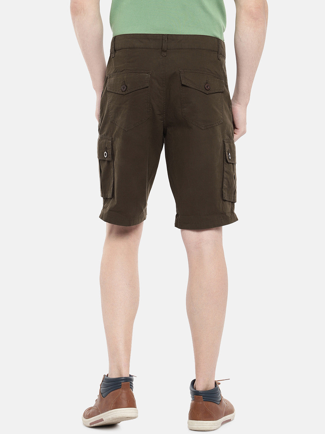 Olive Green Solid Regular Fit Regular Shorts-3