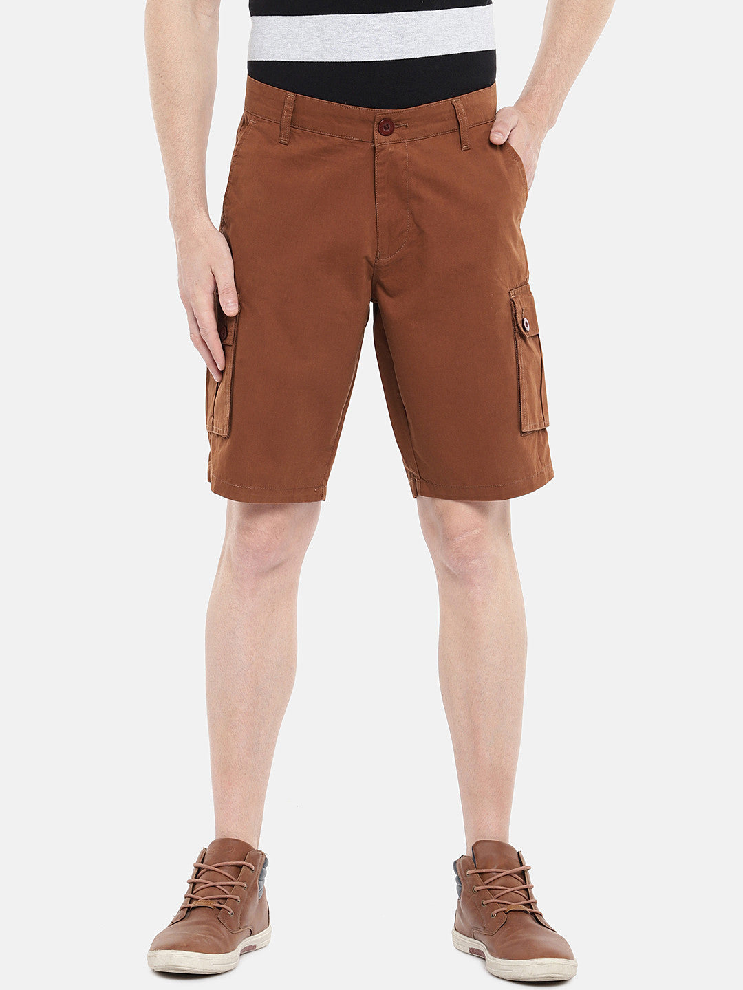 Orange Solid Regular Fit Cargo Shorts-1
