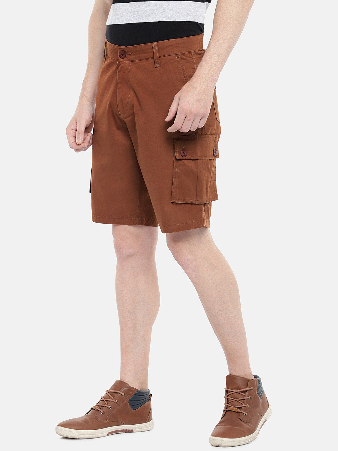 Orange Solid Regular Fit Cargo Shorts-2