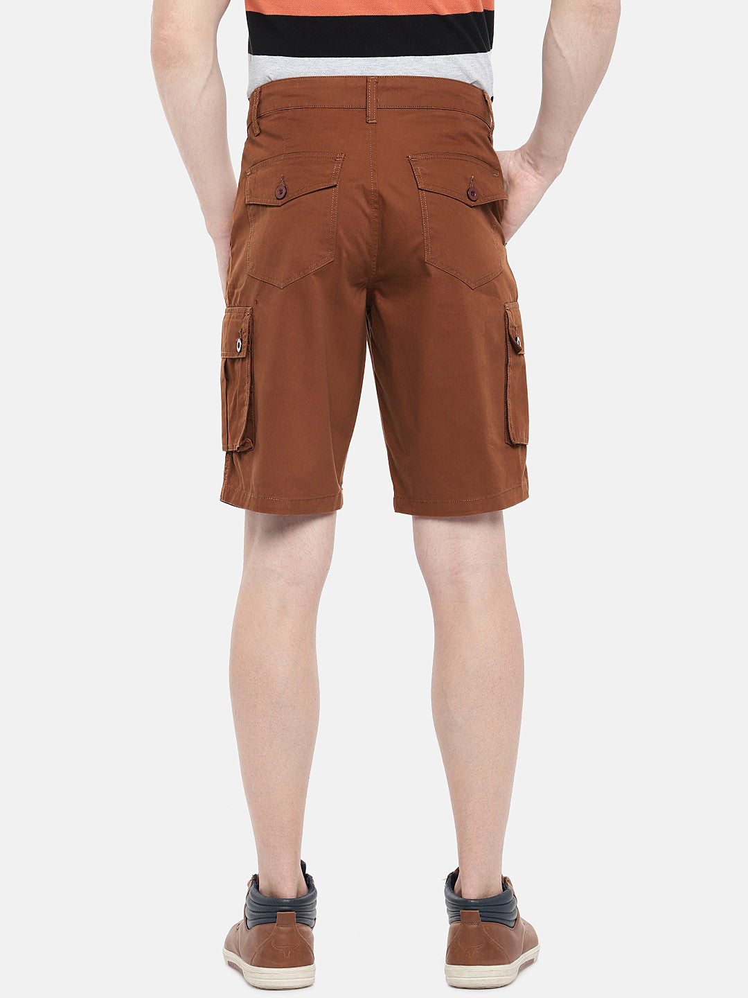 Orange Solid Regular Fit Cargo Shorts-3