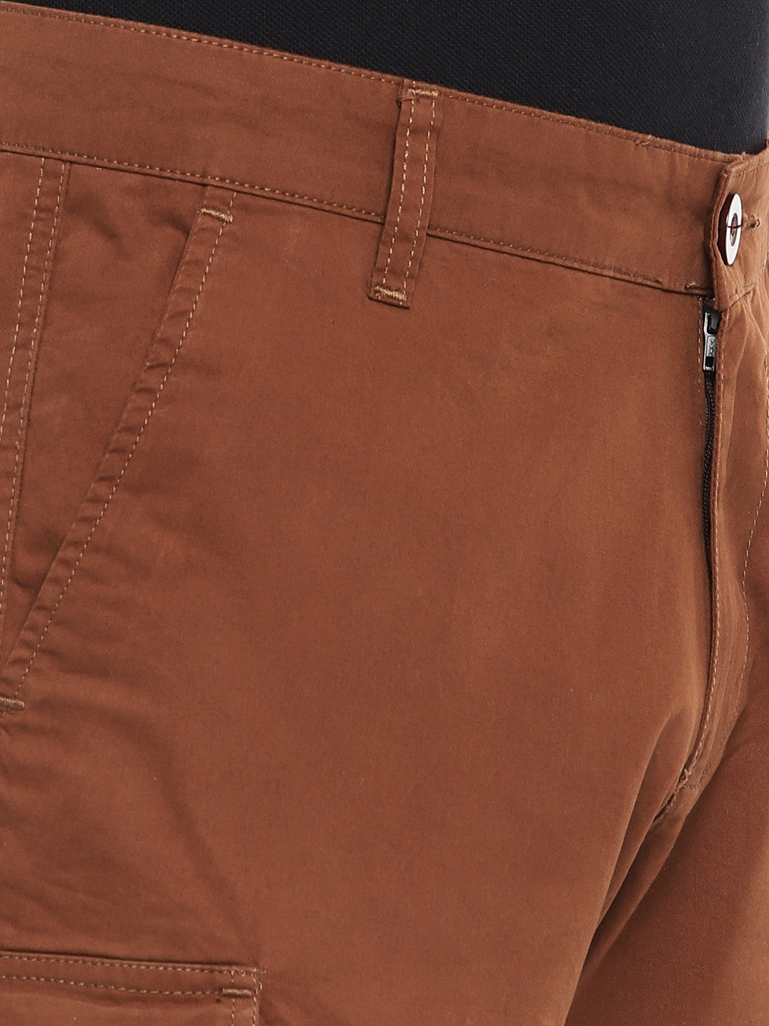 Orange Solid Regular Fit Cargo Shorts-5