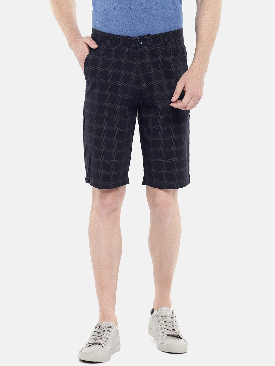Navy Blue Checked Regular Fit Regular Shorts-1