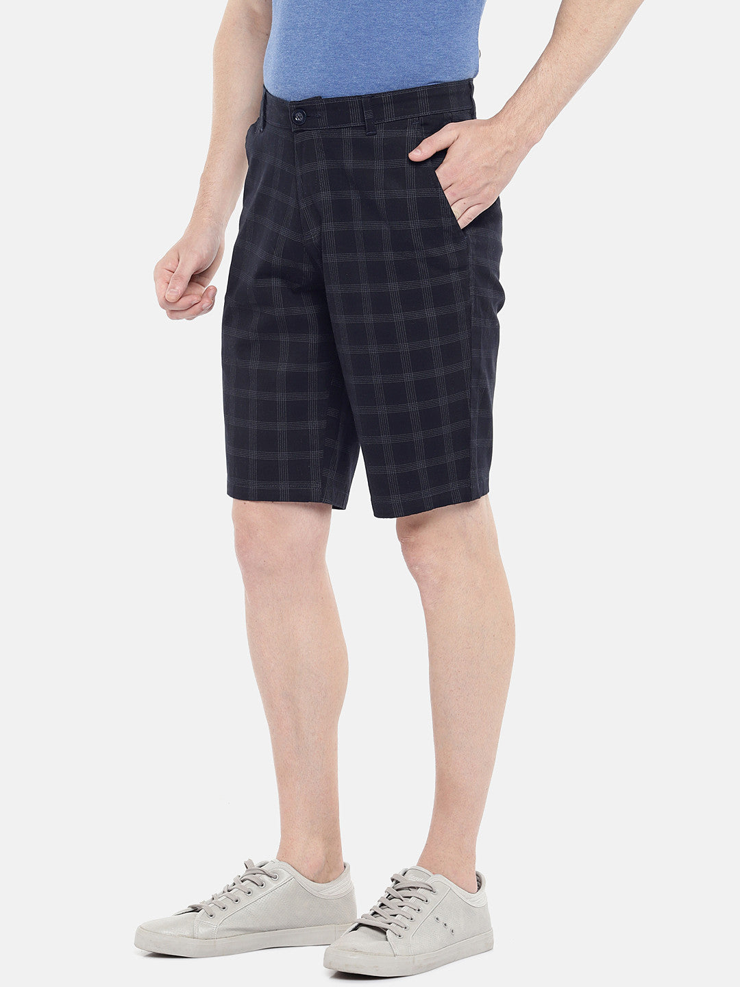 Navy Blue Checked Regular Fit Regular Shorts-2