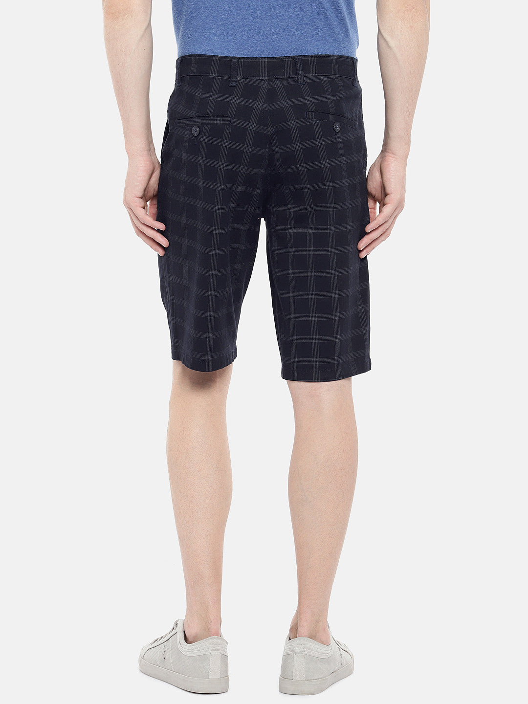 Navy Blue Checked Regular Fit Regular Shorts-3