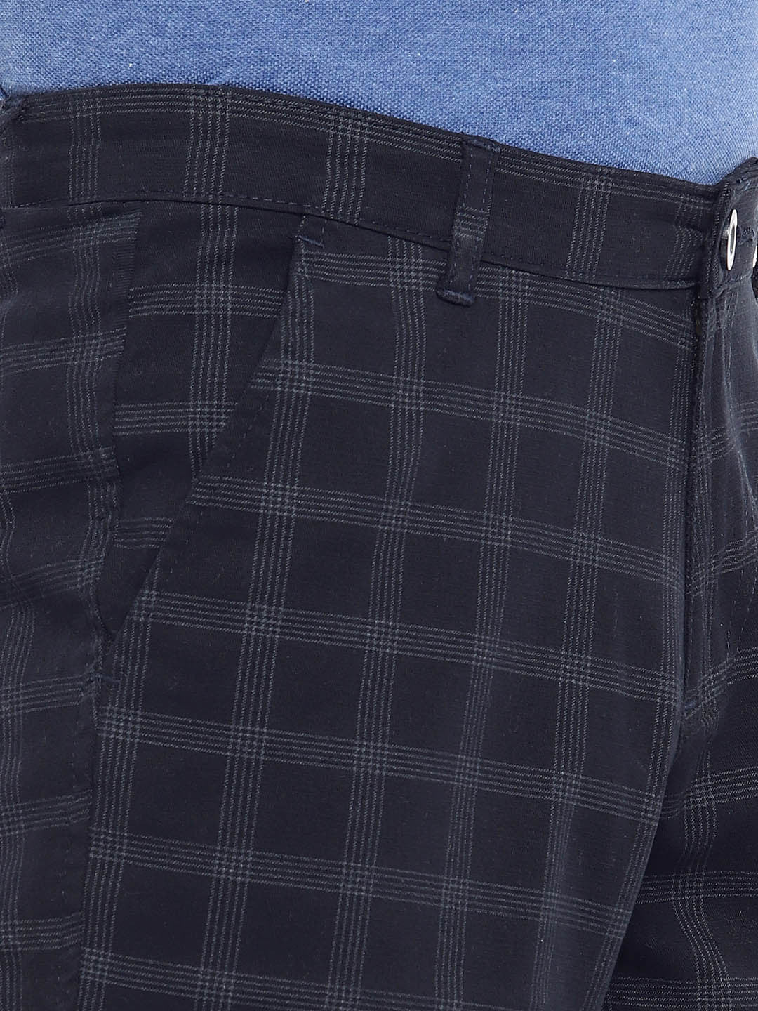 Navy Blue Checked Regular Fit Regular Shorts-5
