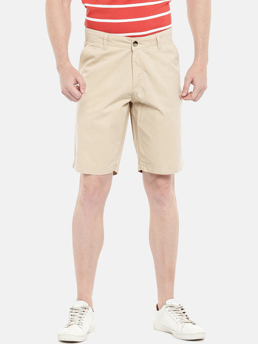 Beige Solid Regular Fit Chino Shorts-1