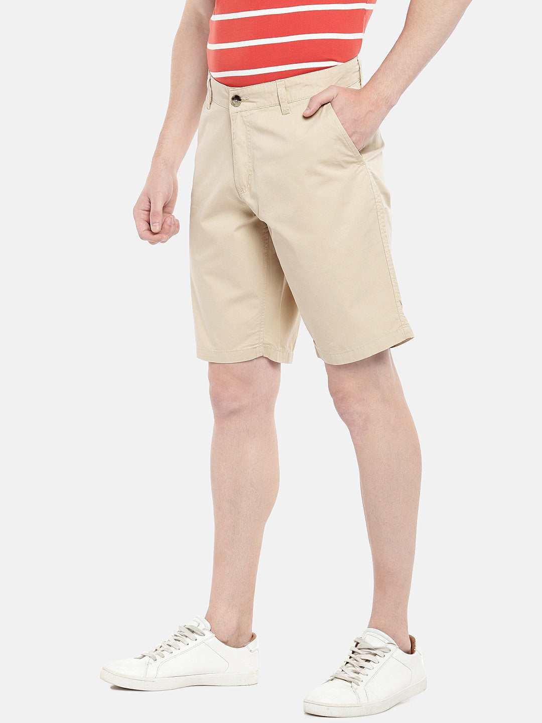 Beige Solid Regular Fit Chino Shorts-2