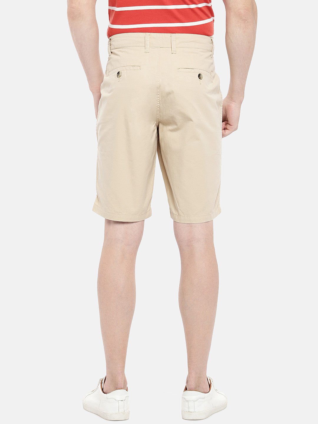 Beige Solid Regular Fit Chino Shorts-3