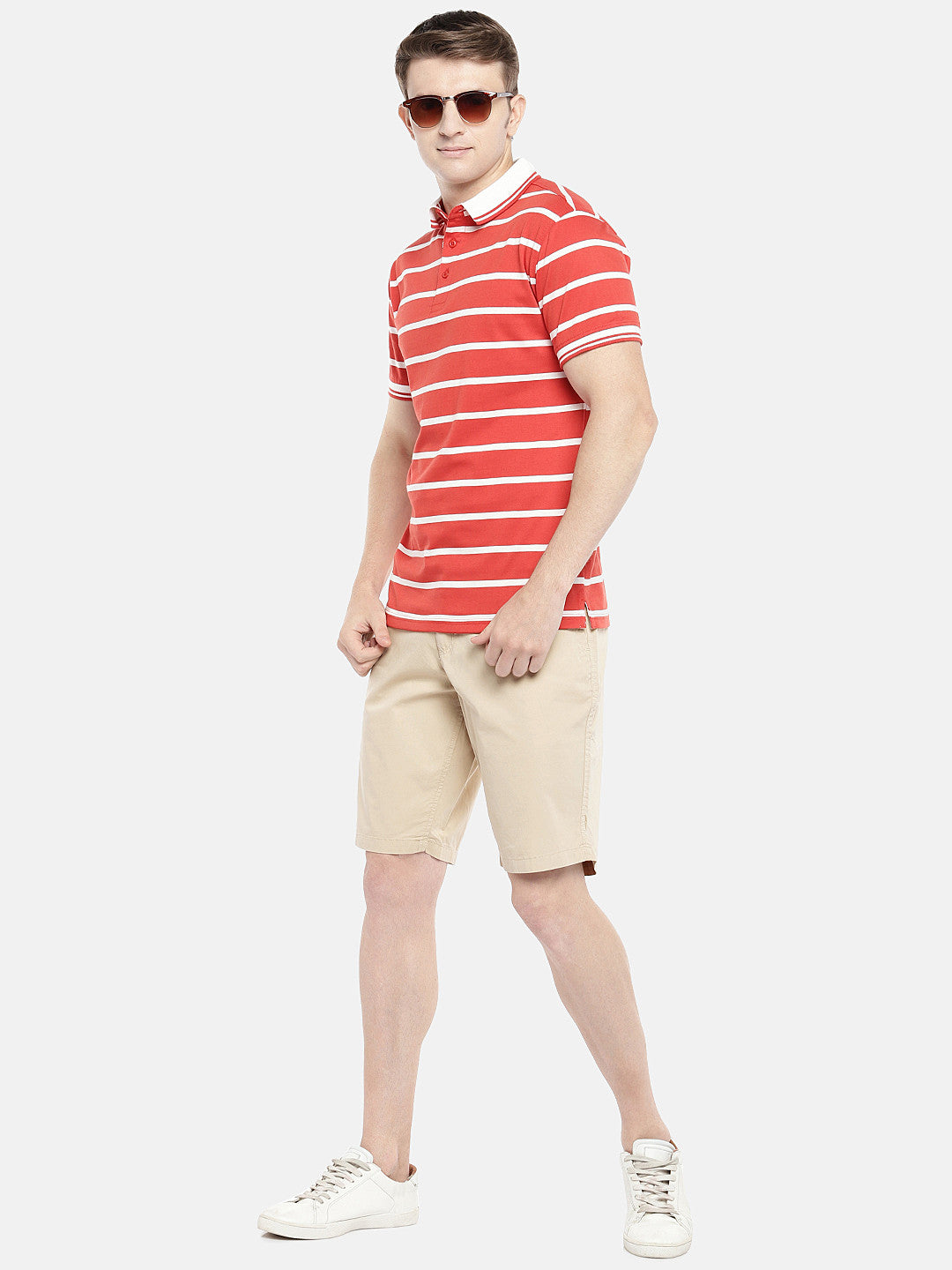 Beige Solid Regular Fit Chino Shorts-4