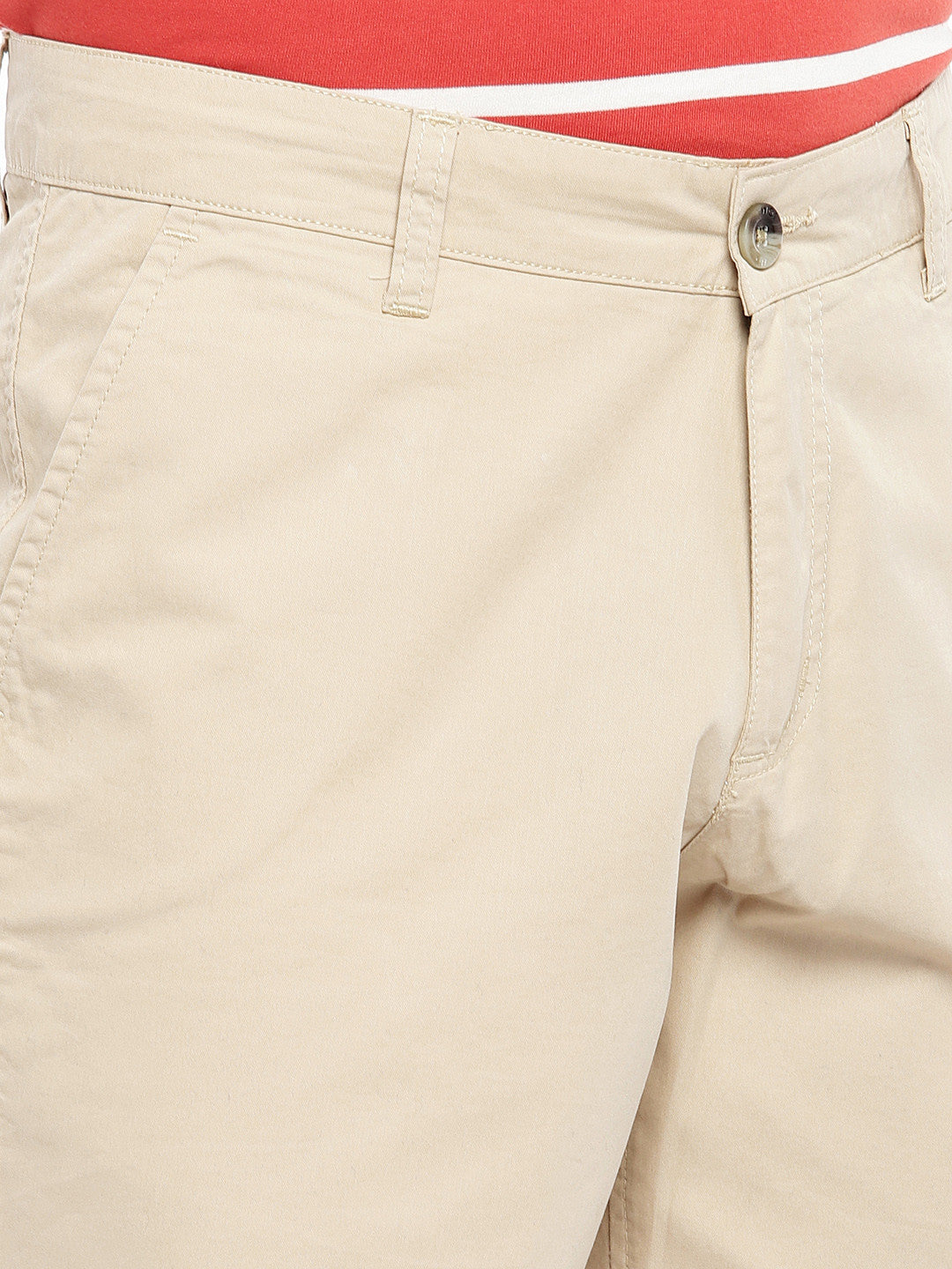 Beige Solid Regular Fit Chino Shorts-5
