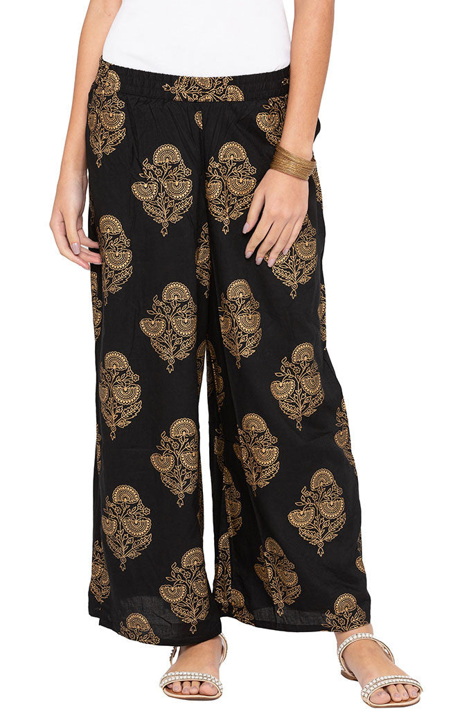 Ethnic Floral Print Palazzos-1