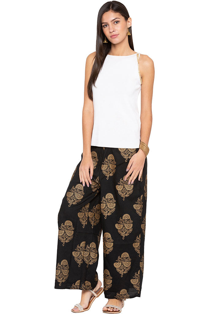 Ethnic Floral Print Palazzos-2