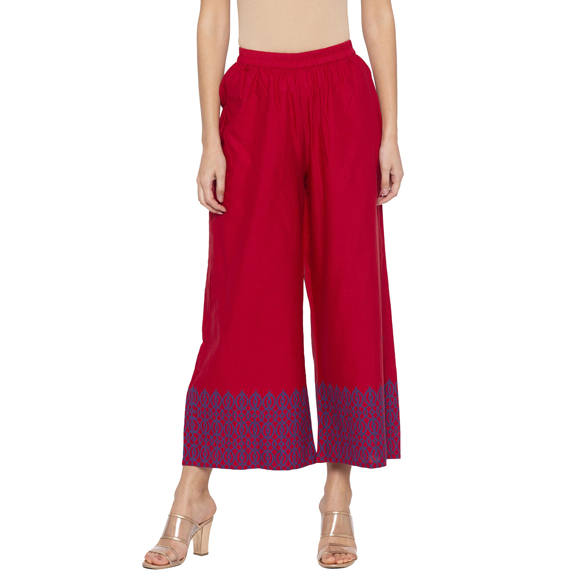 Casual Maroon Color Loose Fit Cropped Parallel Trousers-1