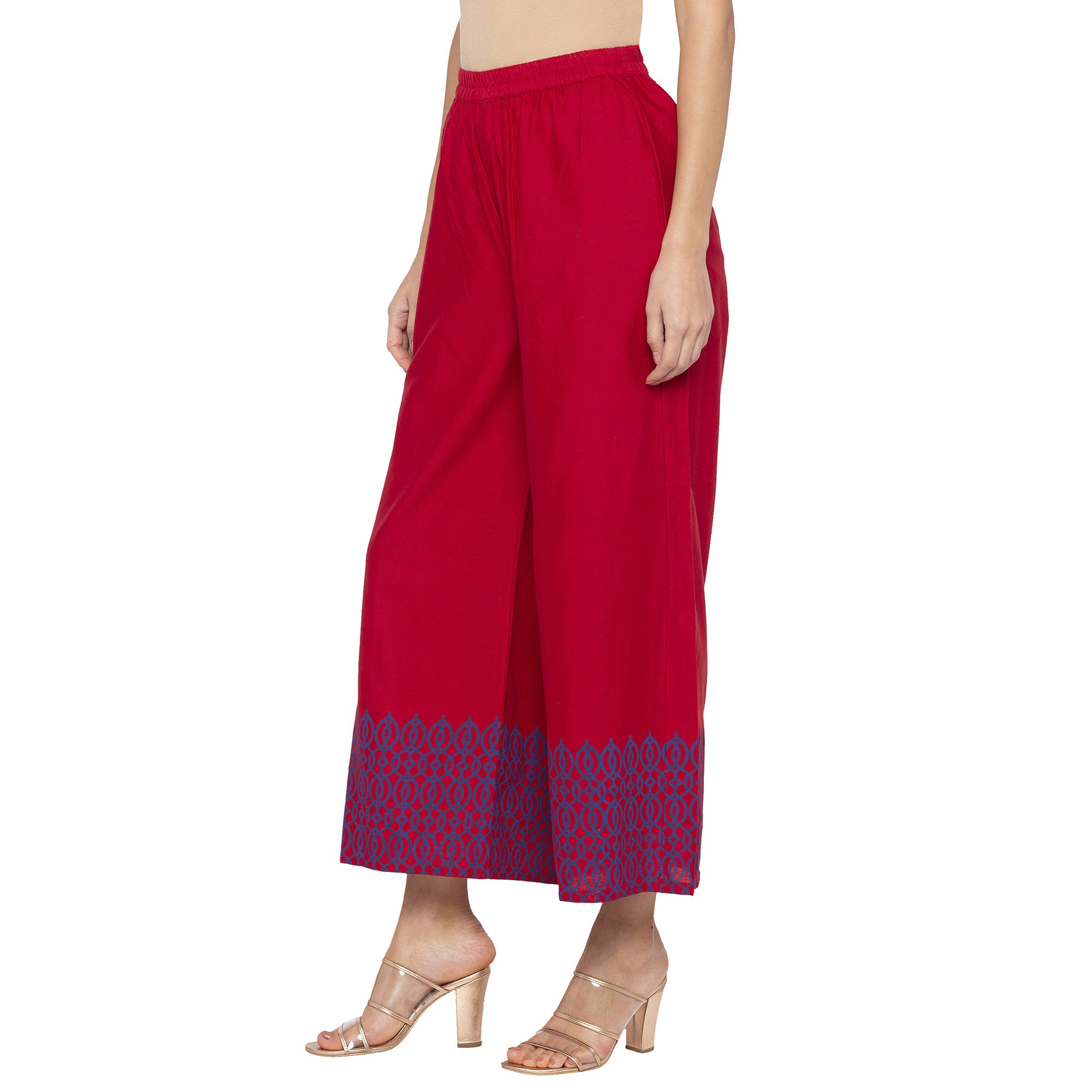 Casual Maroon Color Loose Fit Cropped Parallel Trousers-2