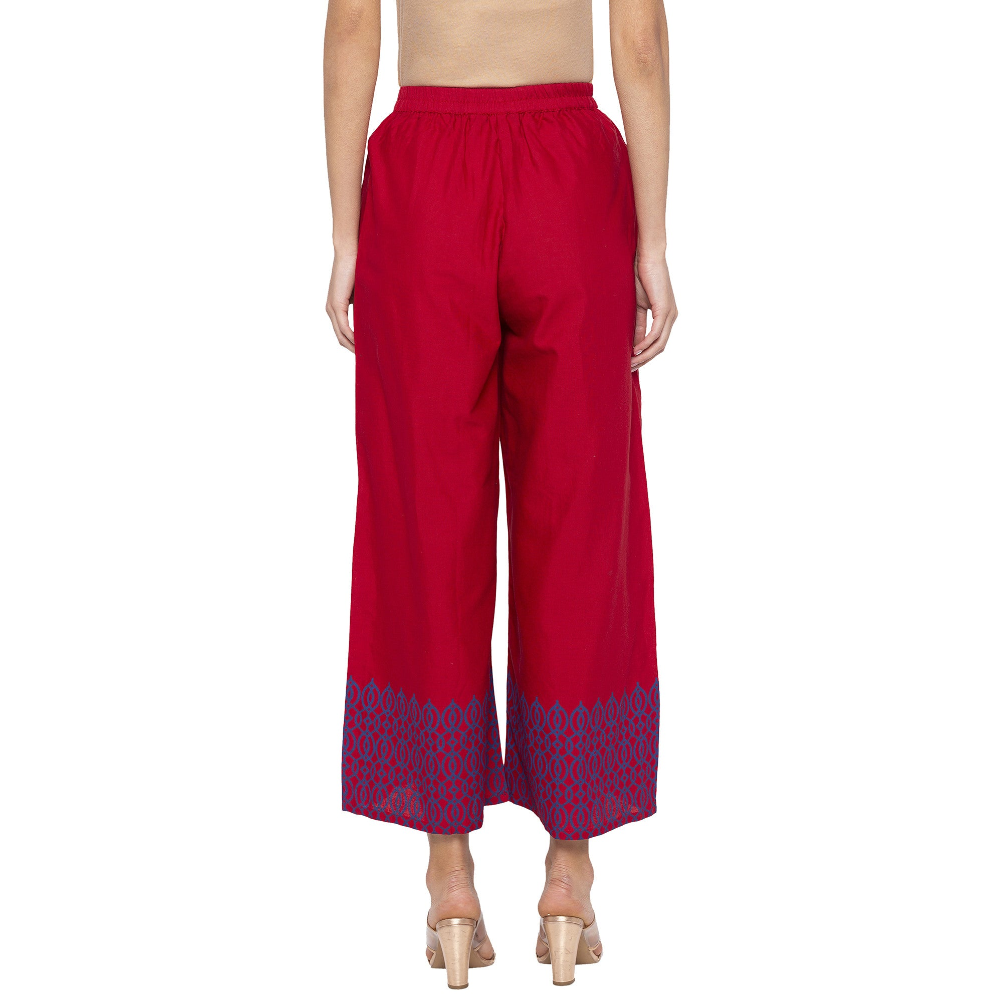 Casual Maroon Color Loose Fit Cropped Parallel Trousers-3