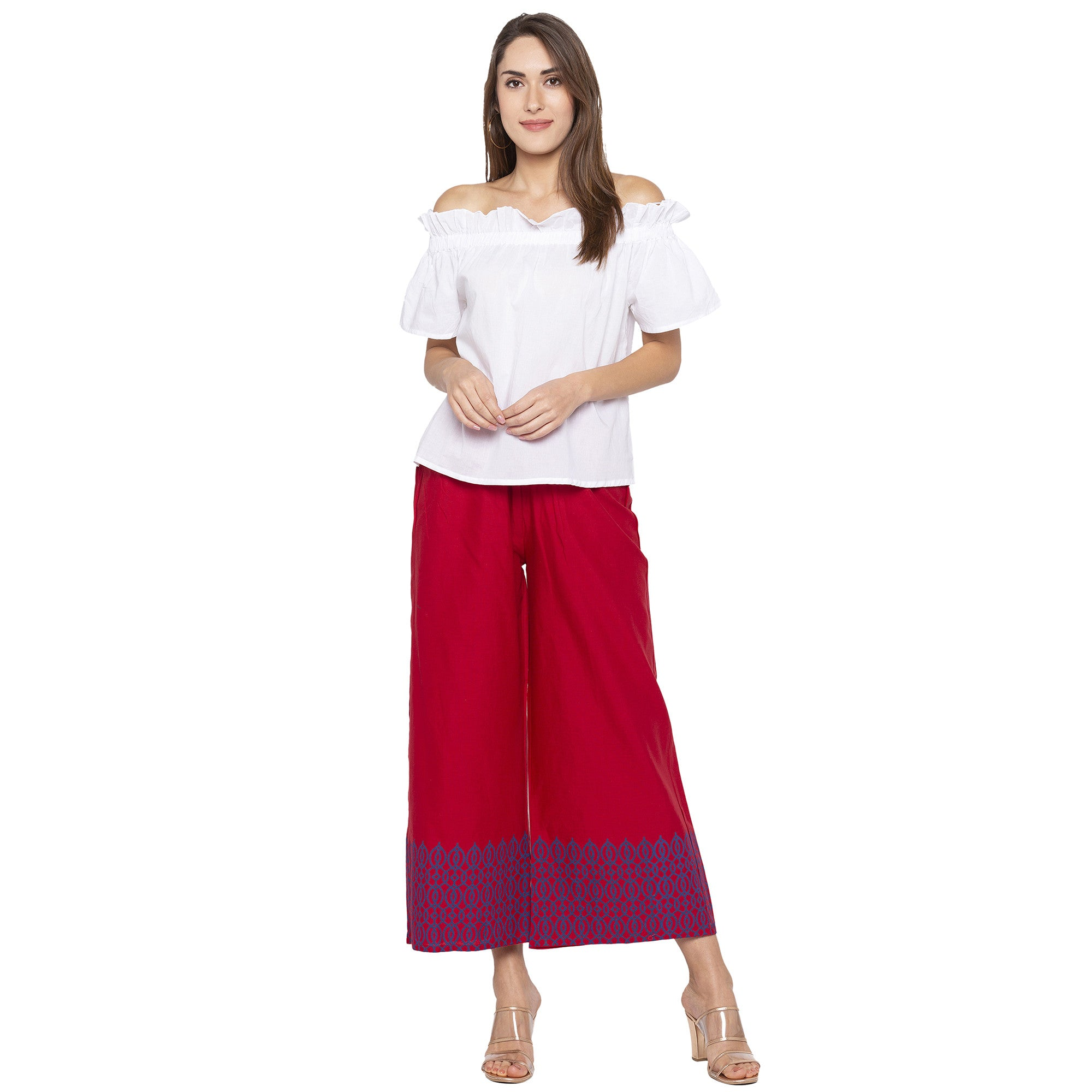 Casual Maroon Color Loose Fit Cropped Parallel Trousers-4