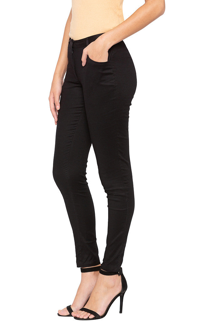 Solid Skinny Fit Trousers-4