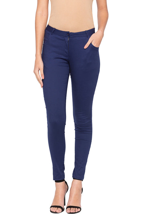 Solid Skinny Fit Trousers-1