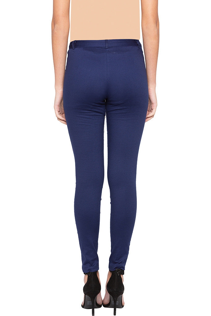 Solid Skinny Fit Trousers-3
