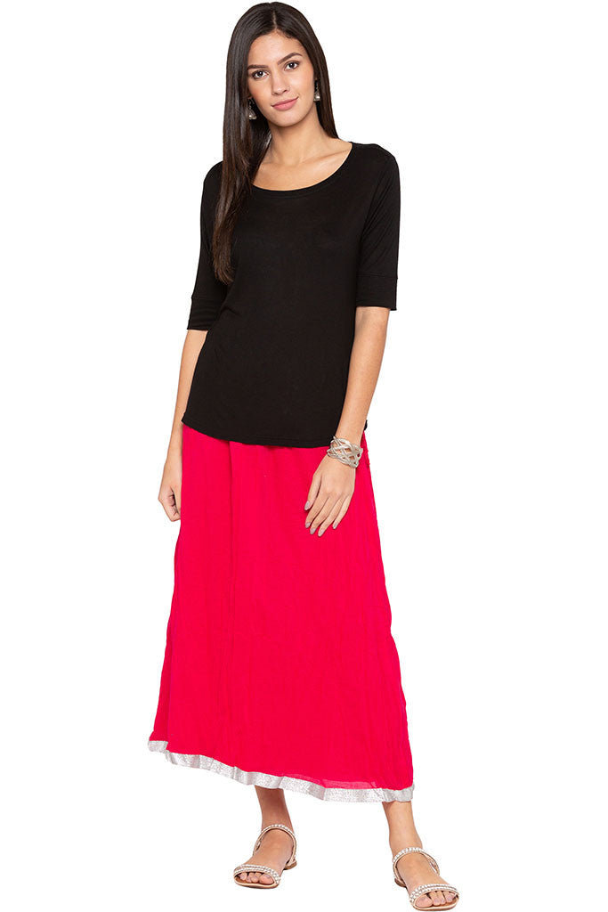 Solid Flared Ethnic Skirt-2
