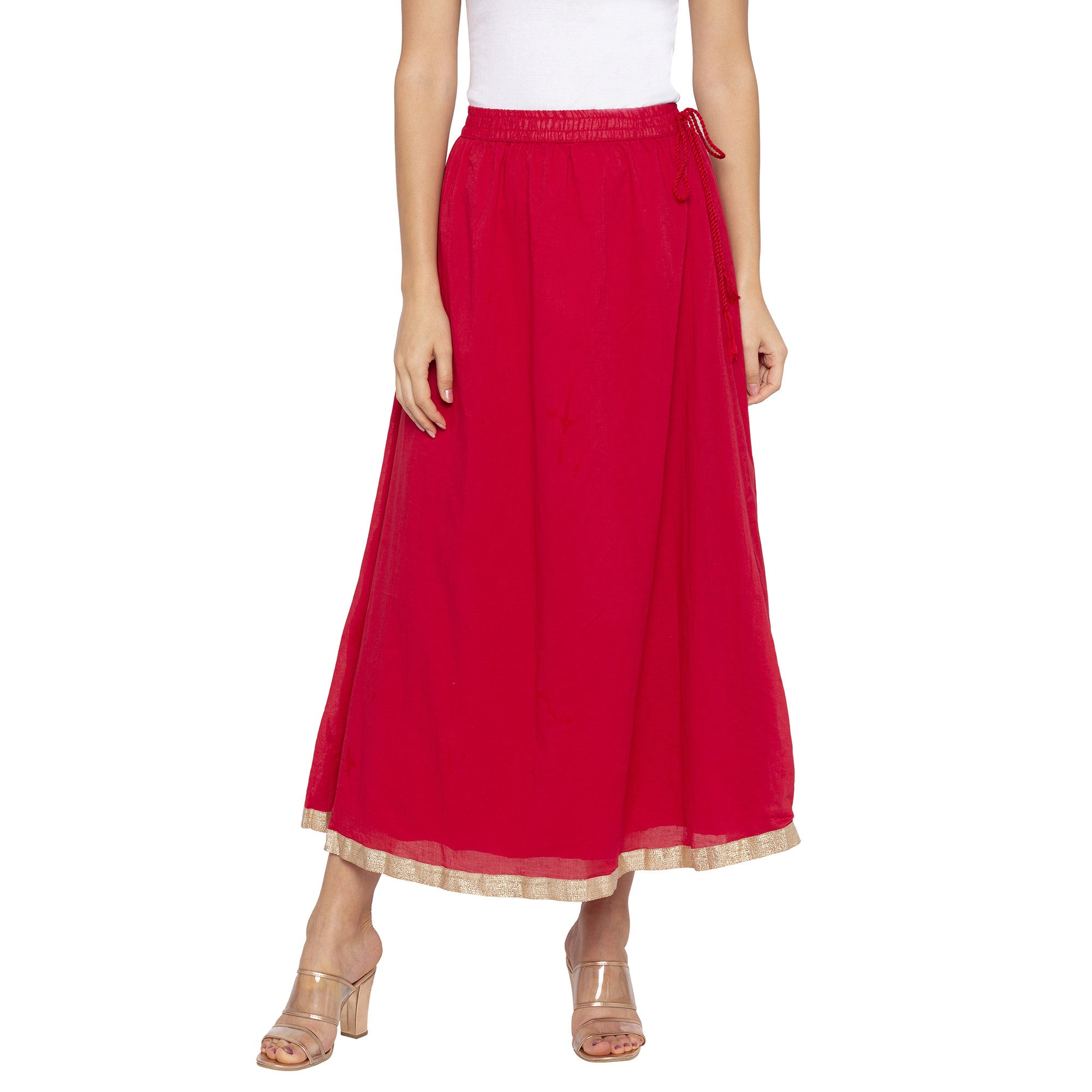 Red Solid Skirts-1