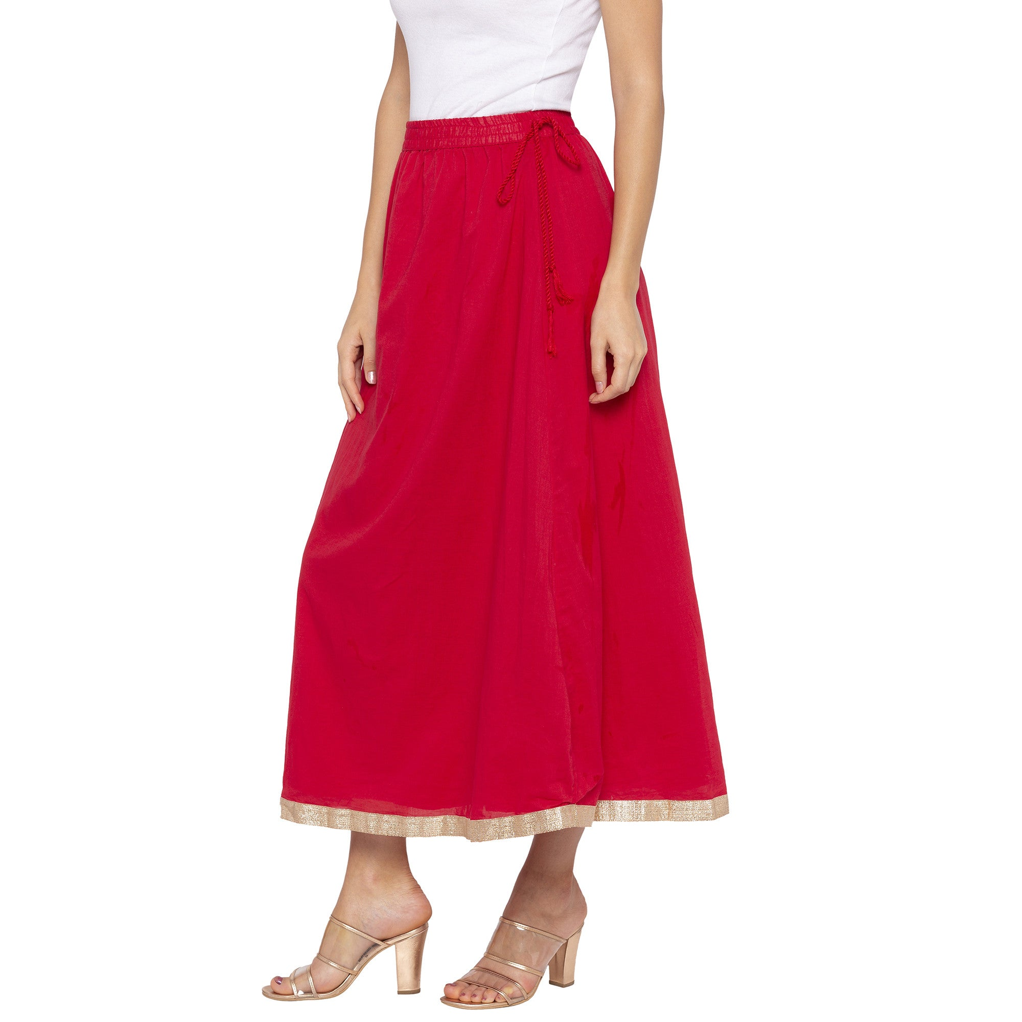 Red Solid Skirts-2