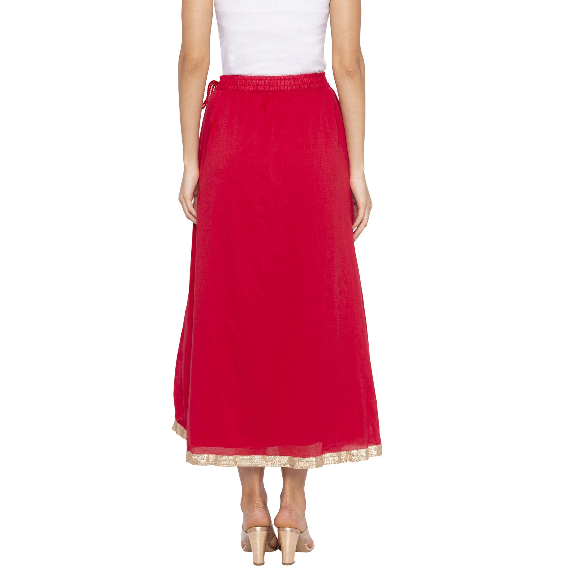 Red Solid Skirts-3