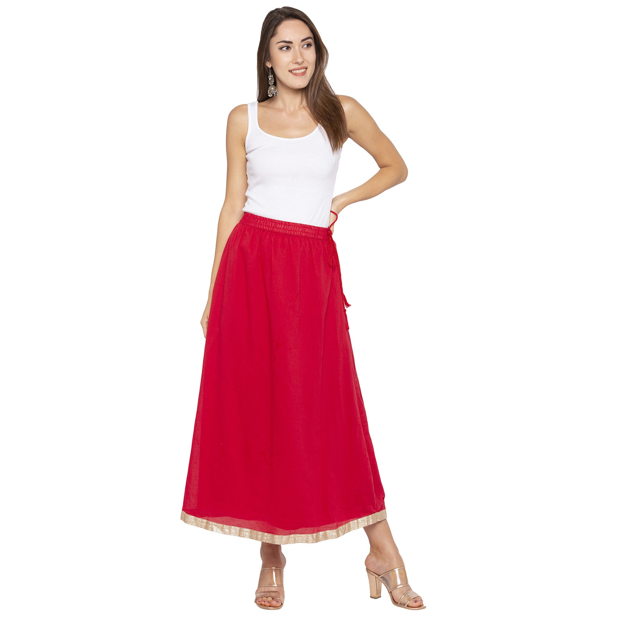 Red Solid Skirts-4